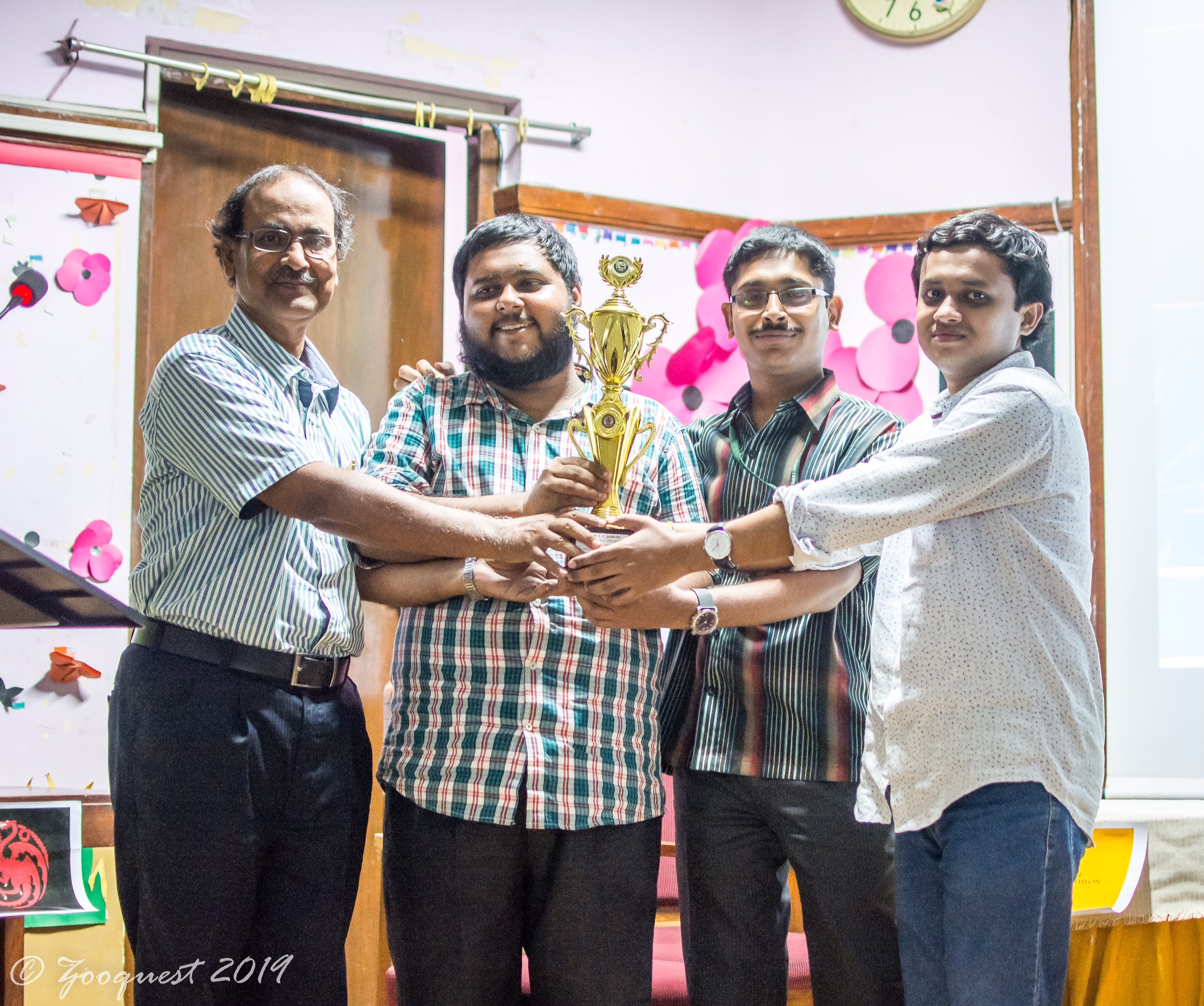 Pradipta Kr Ghosh, Kaustav Bhattacharjee & Subhradip Pandit, M.Sc. Students, PG Dept. Of Zoology, Barasat Govt College: Winner (1st prize) Of PG (quiz) 2019, at Zooquest 2019