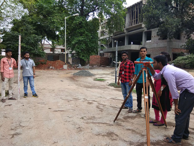 Students are performing Dumpy level survey